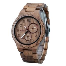 BEWELL Herrenuhr Armbanduhr Holz Analog Japanisches Quarzwerk mit Holzarmband Datum Kalender Rund Casual Holzuhr (Schwarz) - 1