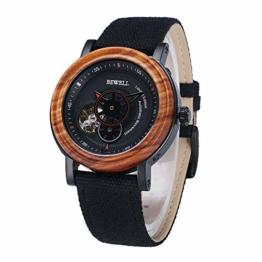 BEWELL Holzkern Uhren Für Herren Analog Automatikwerk Armbanduhr Retro Herrenuhr mit Segeltuch Armband Uhr Männer W158A (Rot) - 1