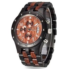 BEWELL w109d Herren Armbanduhr Analoges Japanisches Quarzwerk mit Sandelholz-Armband und Multifunktionsfunktionen für Stoppuhr und Kalender - 1