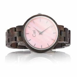 Cari Damen Frauen Holzuhr 36mm mit Schweizer Uhrwerk - Holz-Armbanduhr Kyoto-091 - 1