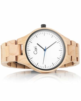 Cari Damen & Herren Holzuhr 40mm mit Schweizer Uhrwerk - Holz-Armbanduhr Marseille-011 - 1