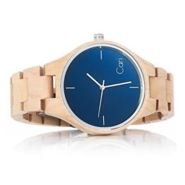 Cari Damen & Herren Holzuhr 40mm mit Schweizer Uhrwerk - Holz-Armbanduhr Stockholm-021 - 1