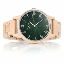 Cari Herren Männer Holzuhr 42mm mit Schweizer Uhrwerk - Holz-Armbanduhr Dublin-111 - 1
