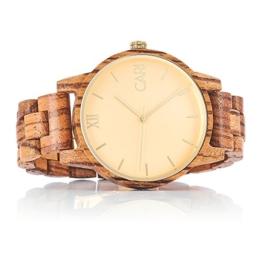 Cari Herren Männer Holzuhr 43mm mit Schweizer Uhrwerk - Holz-Armbanduhr London-071 - 1