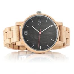 Cari Herren Männer Holzuhr 43mm mit Schweizer Uhrwerk - Holz-Armbanduhr Mailand-051 - 1