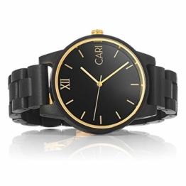 Cari Herren Männer Holzuhr 43mm mit Schweizer Uhrwerk - Holz-Armbanduhr New-York-081 - 1