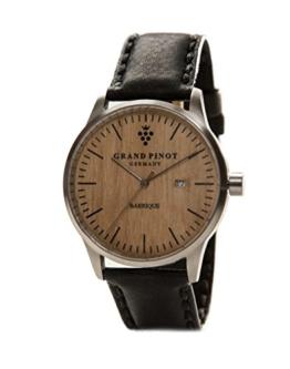 Grand Pinot Uhr Herren Character (42 mm) Silber/Barriquefass mit schwarzem Lederarmband - 1
