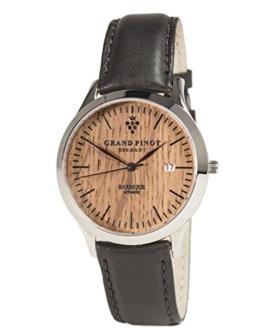 Grand Pinot Uhr Herren Heritage Edition ETA2824-2 (42 mm) Silber/Barriquefass mit schwarzem Lederarmband - 1
