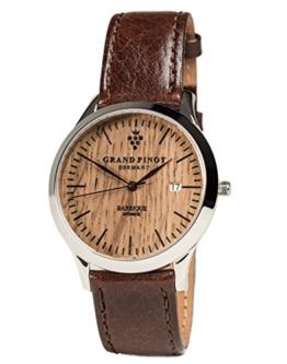 Grand Pinot Uhr Herren Heritage Edition ETA2824-2 (42 mm) Silber/Barriquefass mit dunkelbraunem Lederarmband - 1