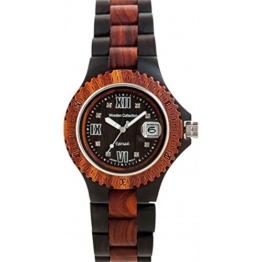 Holzuhr TENSE Mens Compass Premium Unisex-Uhr G4100DR - Natürliches Sandelholz/Rosenholz G4100DR - 1