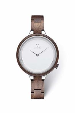 KERBHOLZ Holzuhr - Classics Collection Hinze analoge Quarz Uhr für Damen, Gehäuse und verstellbares Armband aus massivem Naturholz, Ø 38mm, Walnuss Silber Weiß - 1