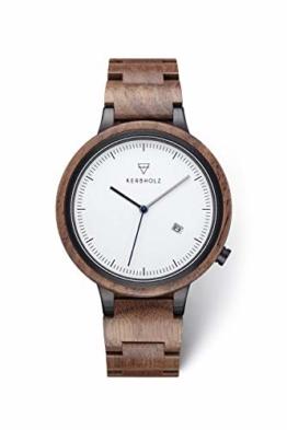 KERBHOLZ Holzuhr - Classics Collection Lamprecht analoge Quarz Uhr für Herren Gehäuse und verstellbares Armband aus massivem Naturholz, Ø 42mm, Walnuss Schwarz - 1