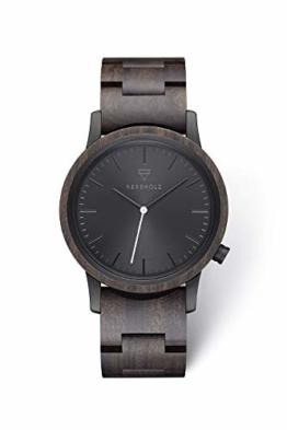 KERBHOLZ Holzuhr - Classics Collection Walter analoge Unisex Quarz Uhr, Gehäuse und verstellbares Armband aus massivem Naturholz, Ø 40mm, Sandelholz Schwarz - 1
