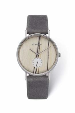 KERBHOLZ Holzuhr Uhr - Elements Collection Frida analoge Damenuhr, Quarz Uhr mit seperater Sekundenanzeige, Naturholz Ziffernblatt, echtes Lederarmband, Ø 35mm, Weiße Birke Silber Grau - 1