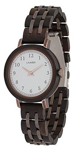 LAiMER Damen-Armbanduhr EMMA Mod. 0090 aus Sandelholz - Analoge Quarz-Uhr mit braunem Holzarmband - 1