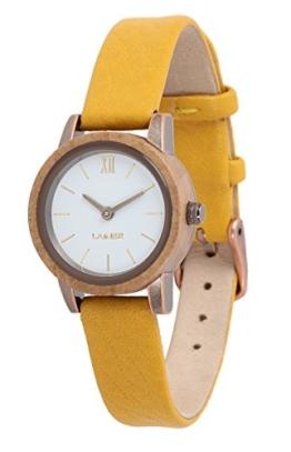 LAiMER Damen-Armbanduhr FLORA Mod. 0093 aus Apfelholz - Analoge Quarz-Uhr mit Lederarmband - 1