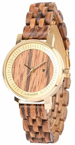 LAiMER Damen-Armbanduhr JENNI Mod. 0066 aus Zebranoholz - Analoge Quarzuhr mit Swarovski-Kristalle, Edelstahlgehäuse und Holzarmband - 1