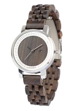 LAiMER Damen-Armbanduhr JULIA Mod. 0065 aus Sandelholz - Analoge Quarzuhr mit Swarovski-Kristalle, Edelstahlgehäuse und Holzarmband - 1