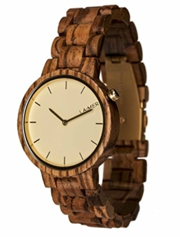LAiMER Damen-Armbanduhr  MELANIE Mod. 0052 aus Zebranoholz - Analoge Quarzuhr mit strukturiertem Holzarmband - 1