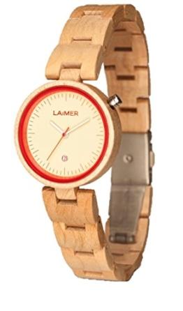 LAiMER Damen-Armbanduhr  NICKY BLAU Mod. 0055 aus Ahornholz - Analoge Quarzuhr mit hellem Holzarmband - 1