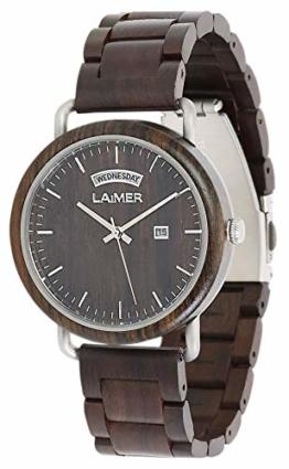 LAiMER Herren Armbanduhr aus echtem Sandelholz - Modell 0110 Fabius - Große Datum und Tagesanzeige - leicht ablesbar - angenehmer Tragekomfort - 1