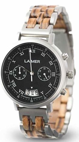 LAiMER Herren-Armbanduhr Chronograph LEON Mod. 0080 aus Zebranoholz - Analoge Quarzuhr mit Edelstahlgehäuse, Schiefer-Zifferblatt und Holzarmband - 1