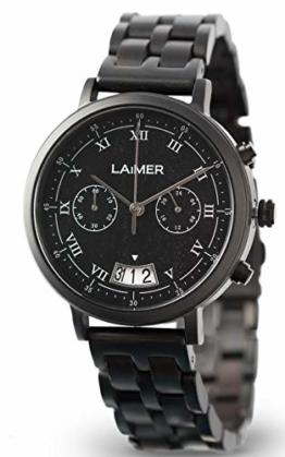 LAiMER Herren-Armbanduhr Chronograph LUCIO Mod. 0079 aus Sandelholz - Analoge Quarzuhr mit Edelstahlgehäuse und braunem Holzarmband - 1