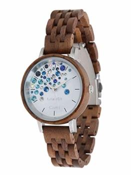 LAiMER Holzuhr Capri WALNUSS - Damen Quarz - Armbanduhr aus Walnussholz mit Swarovski Kristallen - 1