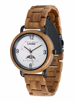 LAiMER Holzuhr GERLINDE - Damen Armbanduhr aus Teakholz mit Zifferblatt aus Magnesit, Quarzwerk mit Mondphase - 1