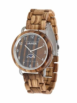 LAiMER Holzuhr Gregor - Herren Armbanduhr aus Zebrano mit Zifferblatt aus Tigerauge, Quarzwerk mit Mondphase - 1