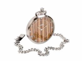 LAiMER Holzuhr - Taschenuhr mit Kette aus Edelstahl und Zifferblatt aus Zebrano - 1