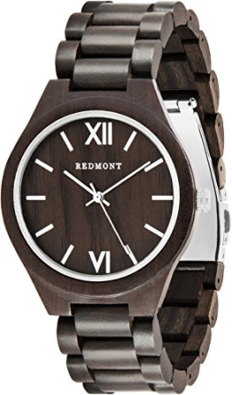 REDMONT Herrenuhr mit Holzarmband Analog Quarz Classic Collection Silver Edition - 1