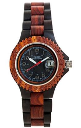 TENSE Damen Frauen Holzuhr Compass Japanisches Quarzwerk aus Black Oak (Schwarze Eiche) / Karri-Holz (Eukalyptus) analog L4100DR-B - 1