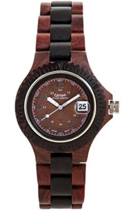 TENSE Herren Männer Holzuhr Compass Japanisches Quarzwerk aus Karri-Holz (Eukalyptus) / Black Oak (Schwarze Eiche) analog G4100RD-BR - 1
