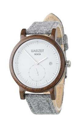 Waidzeit Maximilian Holz Armbanduhr aus Walnussholz mit kleiner Sekunde und Datumsanzeige, Lodenarmband und weiß/schwarz/silbernes Ziffernblatt, Herren/Unisexmodell - 1