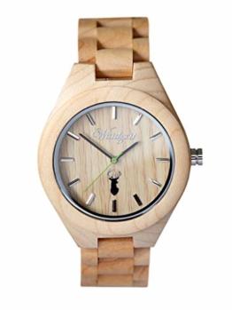 Waidzeit ST02 Platzhirsch Steinbock Uhr Herrenuhr Holz Holz Analog Braun - 1