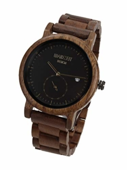 Waidzeit XS01 Maximilian schwarz Uhr Herrenuhr Holz Analog Datum Braun - 1
