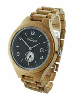 Waidzeit YK02 Barrique Riesling Uhr Herrenuhr Holz Holz Analog Datum Braun - 1