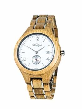 Waidzeit YN02 Barrique Sauvignon Blanc Uhr Herrenuhr Holz Holz Analog Datum Braun - 1
