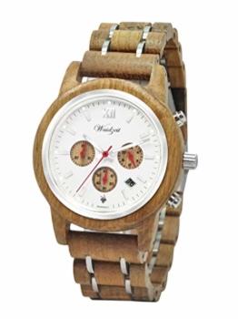Waidzeit YR01 Barrique Chronograph Reserve Uhr Herrenuhr Holz Analog Datum Braun - 1