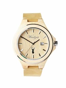 Waidzeit ZI01 Zirbenuhr Uhr Herrenuhr Lederarmband Holz Analog Datum Beige - 1
