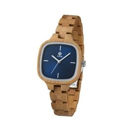 Zeitholz Damen-Holzuhr analog Quarz-Uhr Bambus-Holz-Armband Modell Roßwein - 1