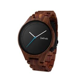 Zeitholz Herren-Holzuhr Analog mit Sandelholz-Armband - Modell Stolpen - Blau - Naturprodukt - Hypoallergen - Nachhaltig Handgefertigt Armbanduhren - 1
