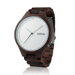 Zeitholz Herren-Holzuhr analog mit Walnussholz-Armband Modell Stolpen weiß - 1