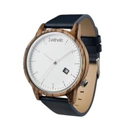 Zeitholz Holzuhr mit Zebranoholz - Gehäuse und blaues Lederarmband - Datumsanzeige - Modell Breitenbrunn - Naturprodukt - Hypoallergen - Nachhaltig Handgefertigt Armbanduhren - 1