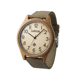 Zeitholz Unisex-Uhr analog Quartz-Uhrwerk mit beige Canvas Armband Modell Altenberg - 1