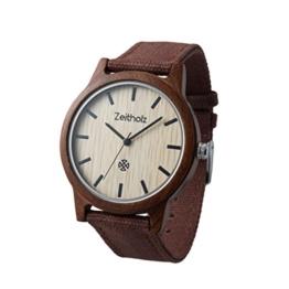 Zeitholz Unisex-Uhr analog Quartz-Uhrwerk mit braunem Canvas Armband Modell Reinsberg - 1