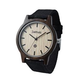 Zeitholz Unisex-Uhr analog Quartz-Uhrwerk mit schwarzem Canvas Armband Modell Reinsberg - 1