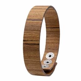 LAiMER Holzarmband - Damen & Herren Armband/Armreif aus Feinem Holz - Größenverstellbar 55-65 mm Durchmesser  aus Zebranoholz 15 mm breit - 1
