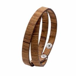 LAiMER Holzarmband - Damen & Herren Wickel-Armband aus Feinem Holz - Größenverstellbar 55-65 mm Durchmesser aus Zebranoholz - 1